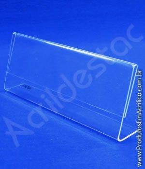 Display em L de PS Cristal Acrilico similar identificador de nomes e menu 6x15cm