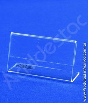 Display PS Cristal Acrilico similar precificador de produtos cardapio 6x9cm