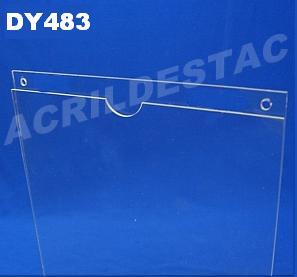 Display de PS Cristal acrilico similar Porta Folhas para parede modelo U Duplo A4 30x21 Vertical