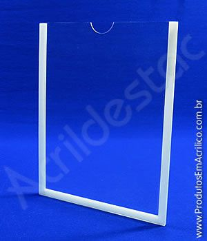 Display de PS Cristal acrilico similar Porta Folheto de parede com moldura A5 Vertical