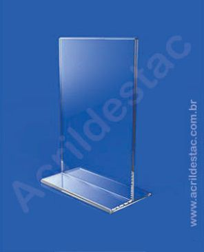 Display T de mesa PS Cristal acrilico similar para folhas A3 42x30 Vertical