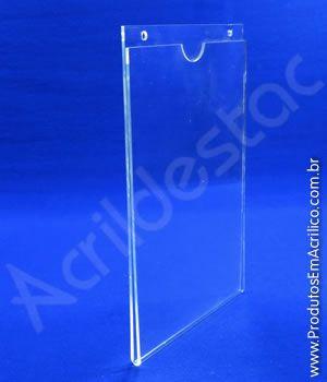 Display de PS Cristal acrilico similar Porta Folheto de parede modelo U Duplo A5 21x15 Vertical
