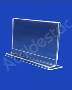 Display em T de mesa balcão PS Cristal acrilico similar A5 15x21 Horizontal