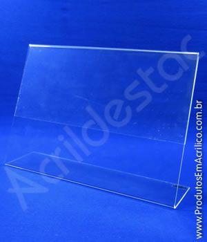 Display PS cristal acrilico similar em L para mesa e balcão A6 10x15 Horizontal