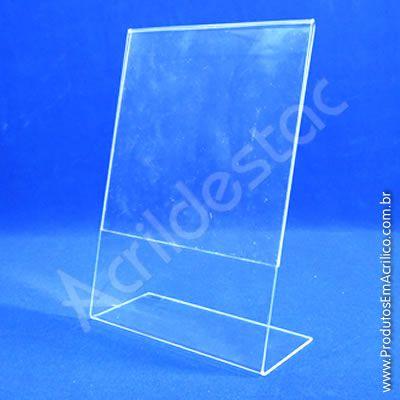 Display PS cristal acrilico similar em L para mesa e balcão A6 15x10 Vertical