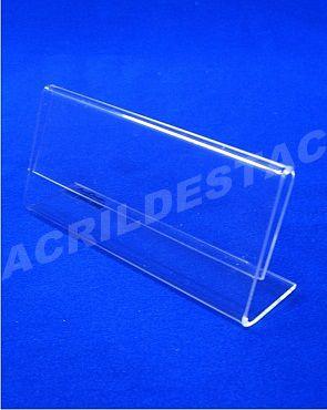 Display de mesa em L PS cristal acrilico similar Porta Folheto 10x21 Horizontal
