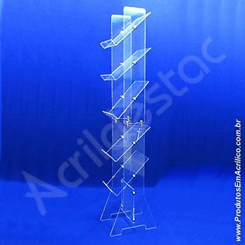 Expositor de Acrilico Desmontavel 5 Bandejas para Catalogos Revistas e Encartes Altura 150cm visual 1 lado