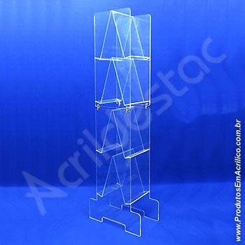 Expositor em acrilico Totem de chão Desmontavel 8 Bolso para Folhetos e encartes 145cm alt