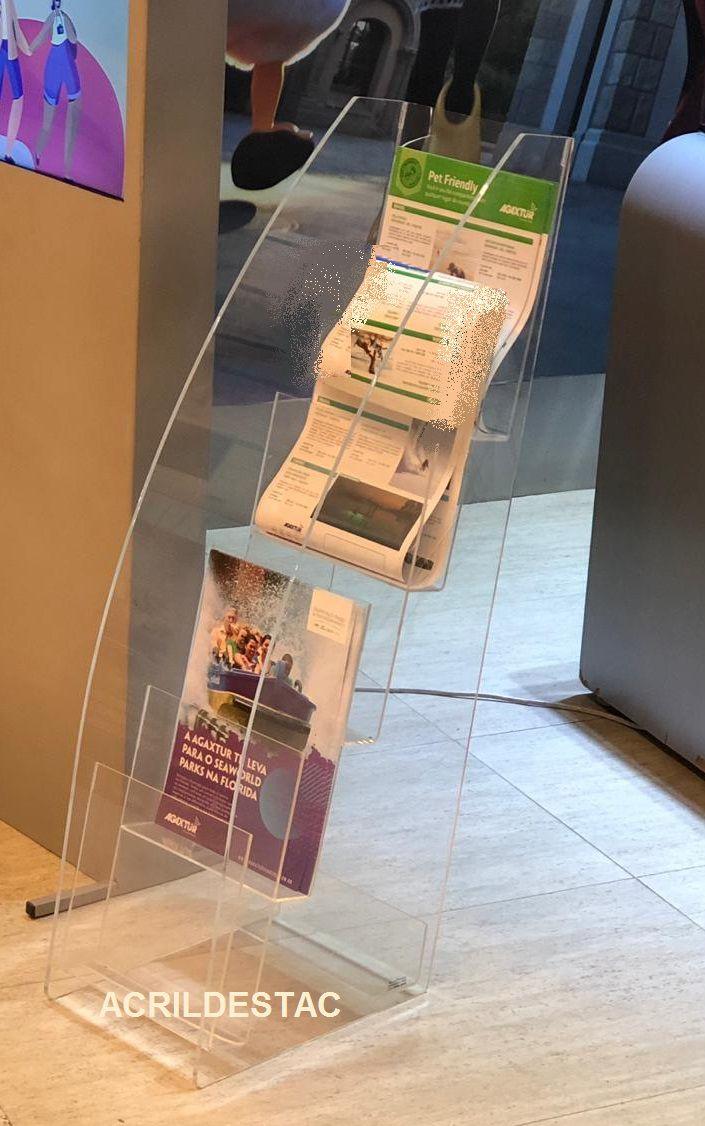 Expositor de Acrilico Revisteiro 5 Bandejas Porta Catalogos Encartes e Revistas 92cm Alt