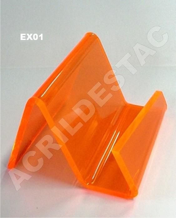 Porta cartão com lateral aberta de acrilico Medindo 6,5cm altura X 9,5cm largura