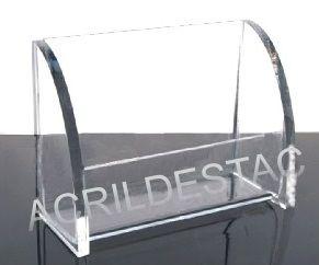 Porta cartão com lateral fechada de acrilico Medindo 7cm altura X 10cm largura