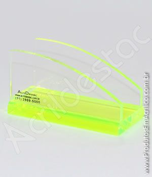 Porta Cartão de visita de mesa em Acrilico 5,0cm altura X 9,5cm largura