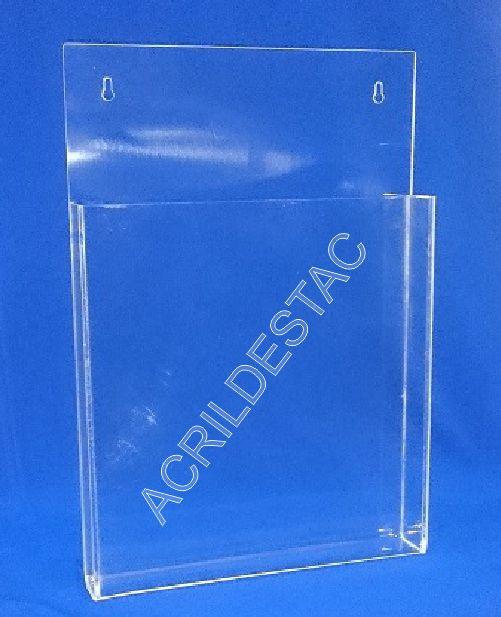 Display de parede em Acrilico suporte para Folhetos e Porta revistas A4 30x21cm