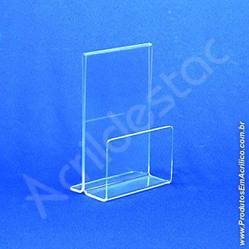 Porta Guardanapos Acrilico para Restaurante com Porta Folheto de mesa A6