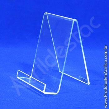 Porta Livro Acrílico Indiv 14 x 10 cm  com Aba Expositor para Livros
