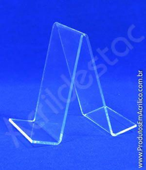Porta Livro PS cristal acrilico similar 13 x 9 cm Duplo - Livrarias Lojas Papelarias Estantes