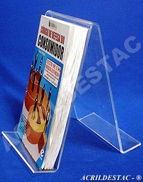 Porta Livros suporte PS cristal acrilico similar Duplo - 18 x 11,5 cm - Livrarias Lojas Papelarias Estantes
