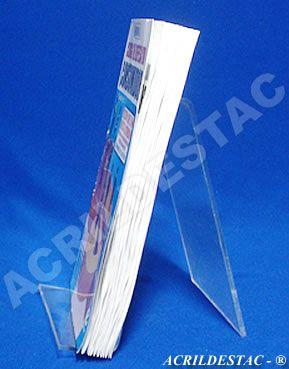 Porta Livro PS cristal acrilico similar individ 18 x 11,5 cm - Livrarias Lojas Papelarias Vitrines