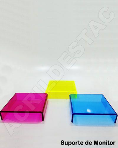 Suporte de mesa para Monitor e notebook de acrilico colorido 10mm