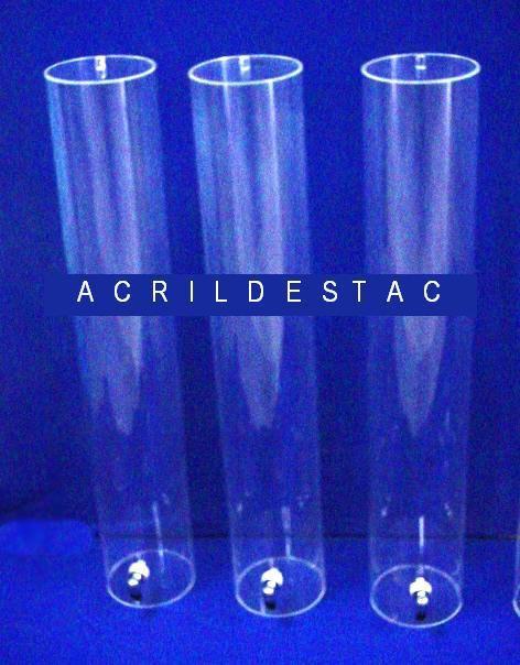 Tubo de acrilico 15cm diametro x 49cm alt cilindro transparente