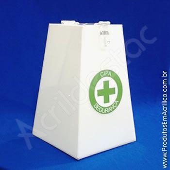 Urna de acrilico Branca Piramide 20cm alt CIPA e Adesivo Personalizada