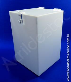 Urna de acrílico Branco 30cm Retangular