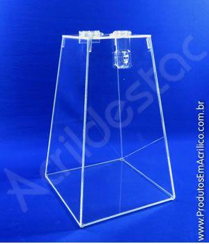 Urna de acrilico Piramide Cristal 30cm alt Urna para cupons sorteios e eventos Produtos em Acrilico