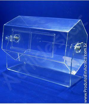 Urna de acrilico sextavado 50x33 cm para cupons sorteio Produtos em Acrilico