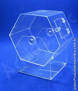 Urna de acrilico Giratoria Vertical ST147 25cm x 40cm para Sorteio
