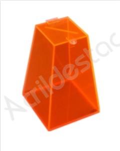 Urna de acrilico Laranja Fluorescente 30cm alt Piramide para eventos