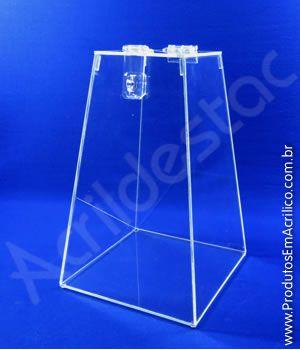 Urna de acrilico Piramide Cristal 20cm alt Urna para cupons sorteios e eventos Produtos em Acrilico