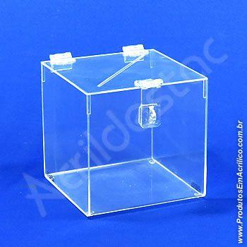 Urna de acrilico Cristal 15x15cm alt Quadrada Cubo sorteios e doações