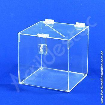 Urna de acrilico Cristal 25x25cm alt Quadrada Cubo sorteio e promoção