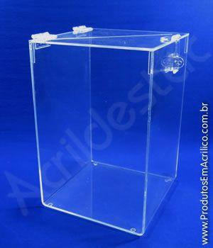 Urna de acrilico Cristal transparente 30 alt x 20 x 20cm Base Quadrada para cupons