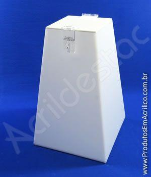 Urna em PS Branca Piramide similar ao Acrilico 30cm alt para sorteios e eventos