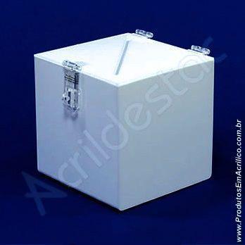 Urna de PS Branca Quadrada similar ao acrilico Caixa 15x15cm Adesivo eleições CIPA
