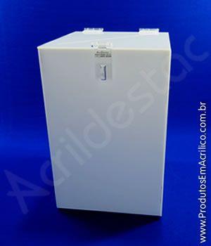Urna de PS Branca similar ao acrilico 30alt x20x20cm Base Quadrada para cupons