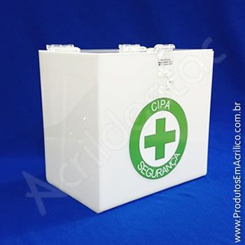 Urna de PS Branca Quadrada similar ao acrilico Cubo 30x30cm para eventos e sorteios