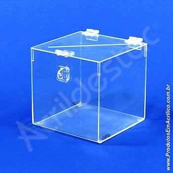 Urna de PS Cristal Quadrada similar ao acrilico Cubo 20x20cm arrecadações e eventos