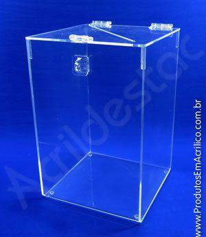 Urna de PS transparente similar ao acrilico 30alt x 20x20cm Retangular para cupons