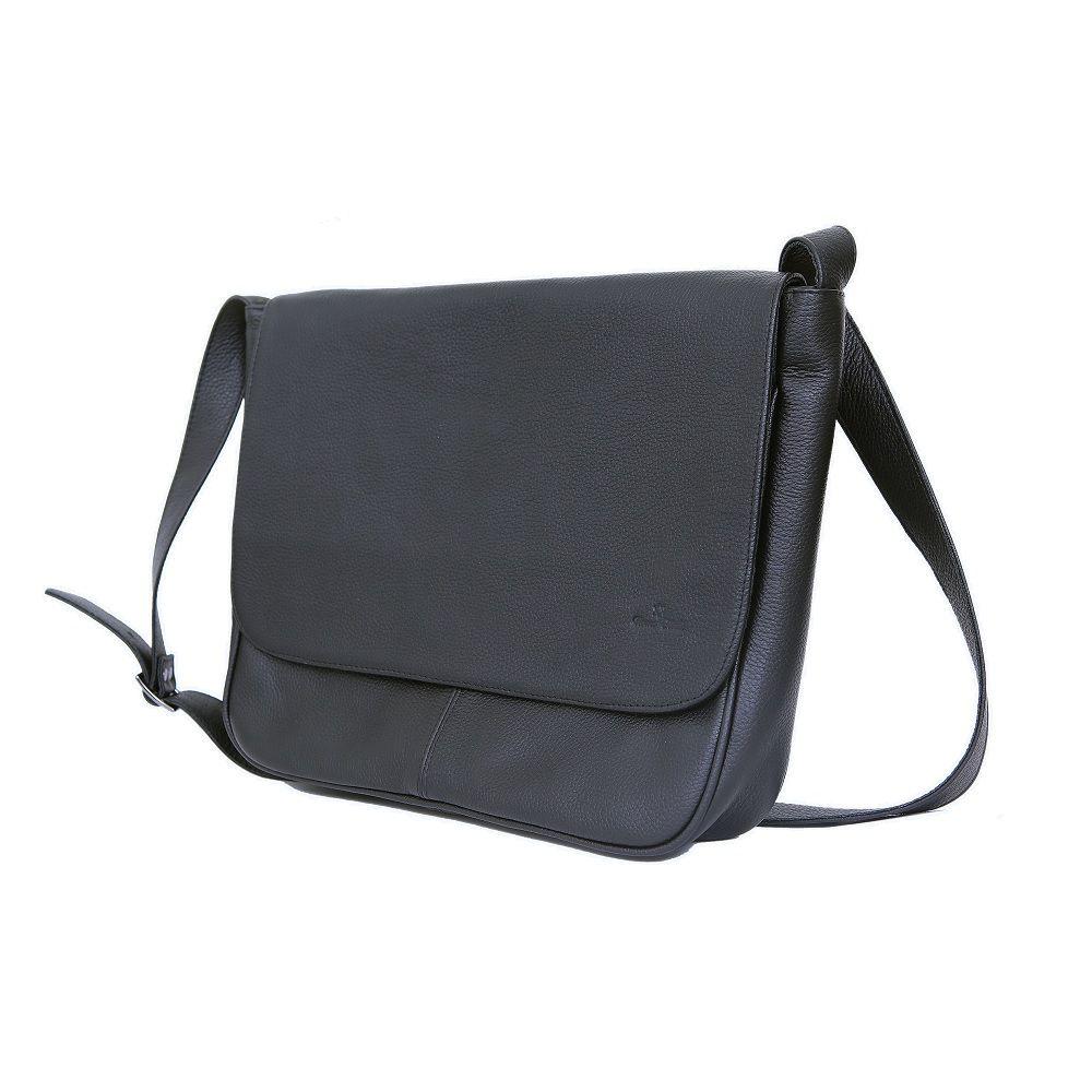 Bolsa/Pasta em Couro Legítimo com Porta Notebook Preto