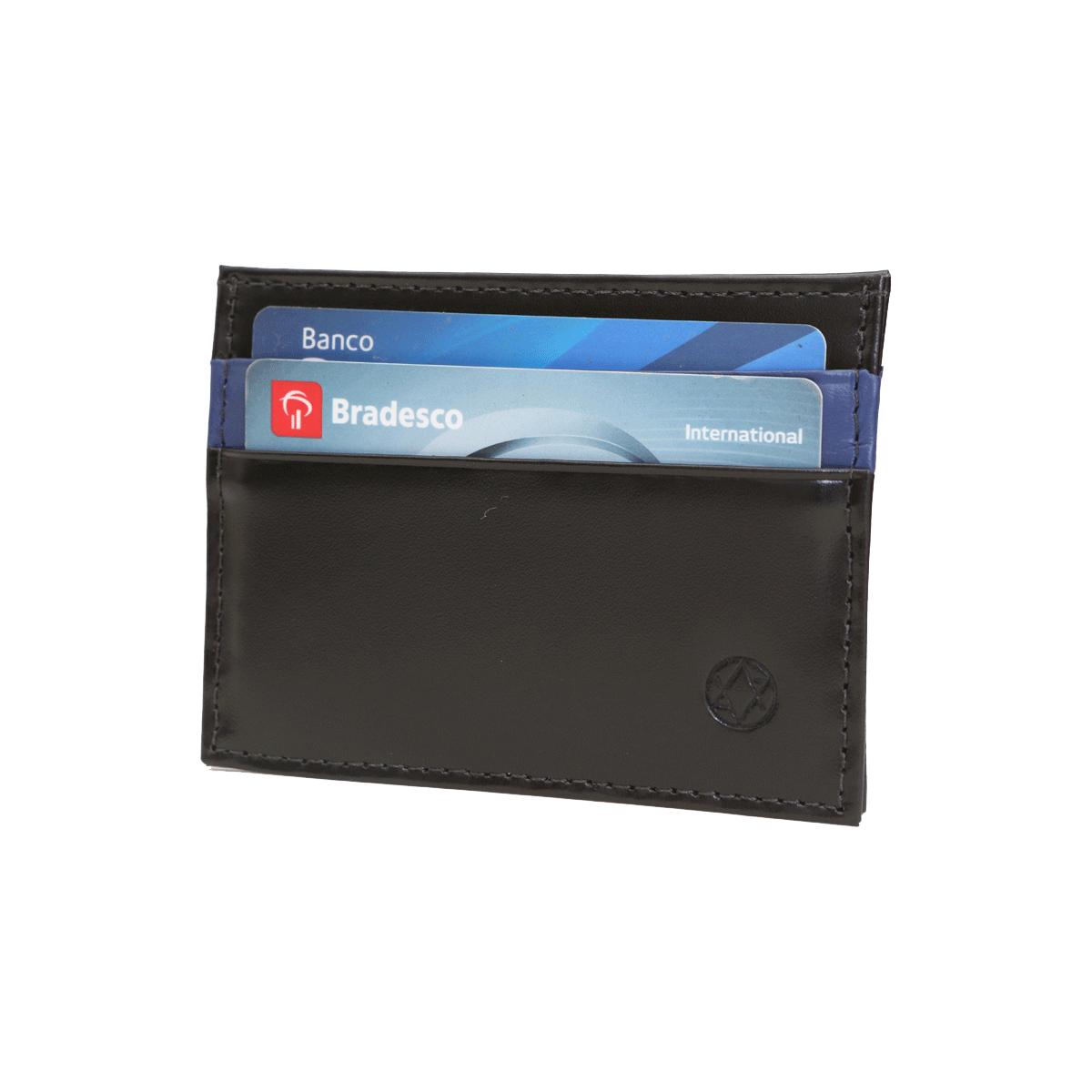 Carteira Porta Cartão em Couro Preto 085p