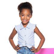 Camisa Menina Mania Kids Listrada Azul e Branco 50703