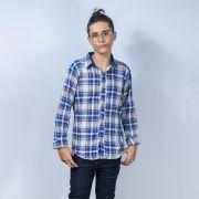Camisa Mania Kids Xadrez Azul 90599Fj