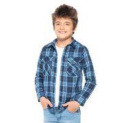 Camisa Mania Kids Xadrez Azul Esc 80596Fj