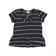Camiseta Beabá Preta Com Listras E Laço 808006N