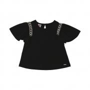 Camiseta Beabá Preta Com Pérolas 808044A