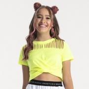 Camiseta Bobbylulu Amarelo Neon com Cortes B22108