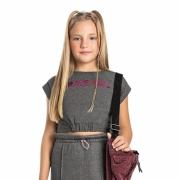 Camiseta Gloss Brave Girl Cinza 31248