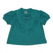 Camiseta Menina Beabá Verde Listrada com Fios 808073